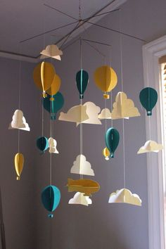 Ideas diy baby mobile origami nurseries for 2019 Diy Nursery Decor, Baby Nursery Diy, Nursery Themes, Themed Nursery, Diy Baby, Baby Decor, Baby Room, Origami Mobile, Paper Mobile
