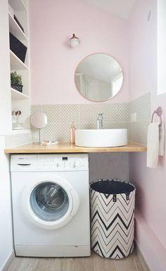 miniature Une salle d'eau rose et une mini cuisine grise, , ADC l'atelier d'à côté - architecte d'intérieur