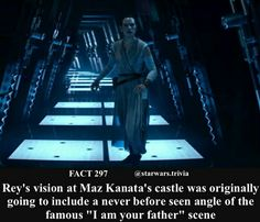 In Star Wars: The Force Awakens during Reys vision she hears these are your first steps. This is a reference to the movie being one of the first steps in splitting the Star Wars fan base. Star Wars Puns, Star Wars Facts, Star Wars Humor, Love Stars, Disney Marvel, Star Wars Episodes, Far Away, New Image, Daisy Ridley