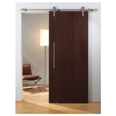 This Flatec I Sliding Barn Door Hardware Set with Solid Stainless Steel Track by Hafele is easily installed for a single wooden/ solid sliding door without a running track. The set holds a maximum door weight of 220 lbs. with smooth quiet operation. Wood Sliding Closet Doors, Sliding Door Handles, Barn Door Handles, Sliding Barn Door Hardware, Wood Doors, Door Latches, Door Hinges, Door Knobs, Making Barn Doors