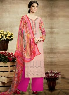 Pink Magenta Embroidery Work Printed Cotton Pakistani Palazzo Suit http://www.angelnx.com/Salwar-Kameez/Pakistani-Suits