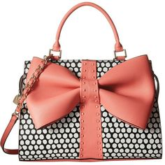 Betsey Johnson Curtsy Satchel (Coral) Satchel Handbags ($118) ❤ liked on Polyvore featuring bags, handbags, structured handbags, zipper handbag, red satchel purse, zipper purse and red satchel handbags