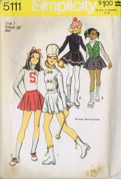 "GIRLS MAJORETTE SKATING COSTUME SEWING PATTERN SIMPLICITY SIZE 7 BUST 26"" CUT 