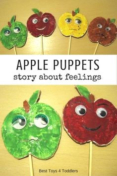Best Toys 4 Toddlers - Make your own apple print puppets and use to talk with toddlers about feelings Preschool Apple Theme, Apple Activities, Fall Preschool, Preschool Learning Activities, Preschool Activities, September Preschool, September Crafts, September Activities, September 2
