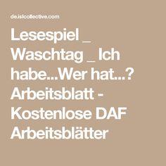 Lesespiel _ Waschtag _ Ich habe...Wer hat...? Arbeitsblatt - Kostenlose DAF Arbeitsblätter