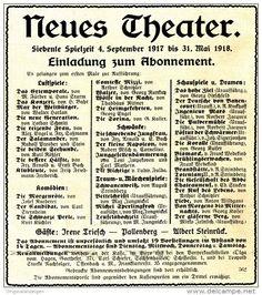 Original-Werbung/ Anzeige 1917 - NEUES THEATER (Frankfurt am Main) - ca. 115 x…