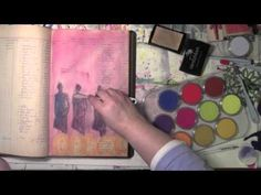 I absolutely love working with Pan Pastels and Carolyn presents a whole new way to use them with the Versamark stamp pad    Using Pan Pastels in an Art Journal with Carolyn Dube