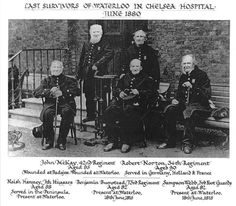 Picture of Four of the last British veterans of the Battle of Waterloo at Chelsea Hospital, June 1880.  at Earth66.com