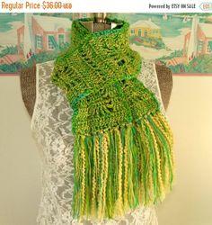 ON SALE Handmade Crochet Scarf Lime Green by WildHeartYarnings