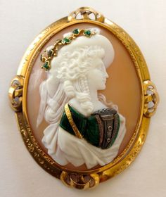 Very Rare Commesso Cameo Brooch Depicting A Profile Of A Woman, Having  Different Colors Of Enamel Applied To The Shell Along With Small Jewels To Add Elegance, Mounted In 15k Yellow Gold
