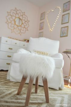 Grey pink white and gold bedroom white gold bedroom yellow gold bedroom ideas fluffy and feminine pink and gold nursery nook love white gold bedroom grey Gold Room Decor, Gold Rooms, Bedroom Decor, Bedroom Ideas, Bedroom Wall, Nursery Ideas, Bedroom Furniture, Pink Toddler Rooms, Little Girl Rooms