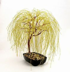 Do you love bonsai trees, but cant seem to keep them alive? Then a beaded bonsai tree would be just perfect for you. The Golden Weeping Willow Bonsai Trees grace comes from its long sweeping, low branches that droop to create a beautiful cascading canopy Beaded Crafts, Wire Crafts, Bonsai Trees For Sale, Copper Wire Art, Wire Tree Sculpture, Sculpture Ideas, Deco Nature, Weeping Willow, Wire Trees