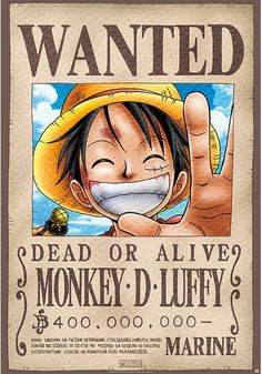 One Piece Poster Wanted Monkey D. Luffy Source by mrsenerodiaries luffy One Piece Anime, One Piece Ex, One Piece Luffy, One Piece Tattoos, Pieces Tattoo, One Piece Cosplay, Monkey D Luffy, Tatuagem One Piece, One Piece Bounties