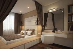 Podestbett bauen matratze-eingelassen-schubladen-holz-weiss-wand-polsterung