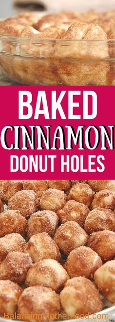 Baked cinnamon donut holes are done in 30 minutes! #donut #cinnamon #bakeddonuts #recipe #breakfast #biscuitdough