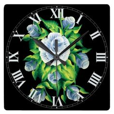 Hand Painted Blue Roses Roman Numerals Wall Clock | Round clocks also available.