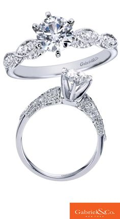 We say YES to this gorgeous 14k White Gold Diamond Straight Engagement Ring from Gabriel & Co.
