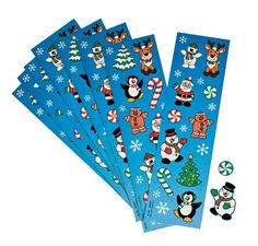Christmas Sticker Strips (8).  Get with the festive holiday spirit with these cool sticker sheets!  Includes 8 sticker sheets; each sheet contains 18 stickers.  9.52 mm - 3.81 cm