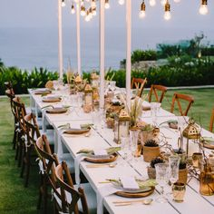 White long table wood chairs tropical luxe wedding contemporary minimalistic style | Bali Event Hire
