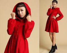 red wool coat hooded coat winter jacket cashmere coat(333)