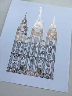 Salt Lake City Utah LDS Temple Gold Foil LDS Temple SLC
