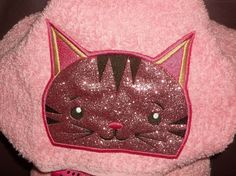 Embroidered Pink Kitty Cat towel, cat hooded towel, kitty cat peeker, kids cat towel, pink cat towel, kids towel, hooded peeker towel by Gingerbread123 on Etsy