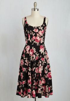 Blossoms Up Floral Dress. A pause in the buzz of activity at your picnic reveals itself to be a toast to you in this black A-line! #black #modcloth