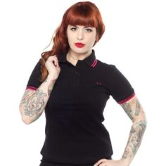 b34bdf2b FRED PERRY GIRLS TWIN TIPPED POLO BLK/PINK $76.00 #fredperry #girls #polo. Sourpuss  Clothing