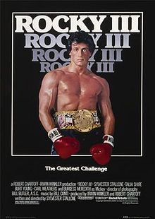 Rocky III is a 1982 American film that is the third installment in the Rocky film series. It is written and directed by and stars Sylvester Stallone as the title character, with Carl Weathers as former boxing rival Apollo Creed, Burgess Meredith as Rocky's trainer Mickey, and Talia Shire as Rocky's wife, Adrian.