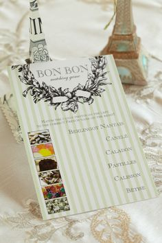 Bon Bon Matching Game. Inspire bilingualism from baby shower guests as they match delightful photos with the correct foreign name of French delicacies.