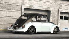 Custom VW bug slammed