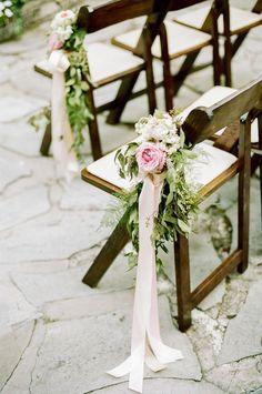 Pink Peony Aisle Decor Flowers on Wood Chairs | http://emmalinebride.com/ceremony/peony-aisle-decor/ | photo: jenna henderson