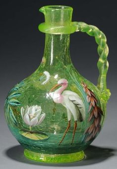 Moser Vaseline Crackle Glass Vase Enameled Pitcher with  Twisted Glass Handle, circa 1885.