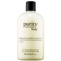 Philosophy Purity Made Simple Body 3-in-1 Shower ($26) ❤ liked on Polyvore featuring beauty products, bath & body products and body cleansers