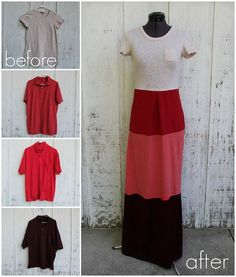 Turn old shirts into a maxi-dress
