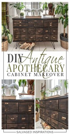 Antique Apothecary Cabinet Dresser Makeover with DIY Drawers Salvaged Inspirations Cheap Furniture Makeover, Diy Furniture Renovation, Furniture Projects, Furniture Cleaning, Apothecary Decor, Apothecary Cabinet, Armoires Diy, Painting Wooden Furniture, Rustic Furniture