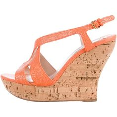 Pre-owned Miu Miu Embossed Platform Wedges ($115) ❤ liked on Polyvore featuring shoes, sandals, orange, buckle sandals, orange sandals, strappy leather sandals, wedge shoes and miu miu sandals