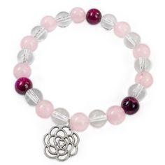 Náramek ROSE FLOWER Náramek z růženínu, křišťálu a růžového tygřího oka s přívěškem rozkvetlé růže. Beaded Bracelets, Beads, Flowers, Jewelry, Rocks, Bangle Bracelets, Jewels, Beading, Jewlery