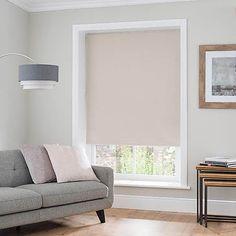 Luna Natural Blackout Roller Blind | Dunelm Curtains With Blinds, Blinds For Windows, Large Roller Blinds, Types Of Blinds, External Lighting, New Living Room, Large Windows, House Design, Natural