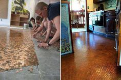 opper Pennies + Clear Resin = Beautiful Floor. http://mandolinmosaics.com/installations.php If you want to try this: Save this picture and go to your local Big Box Home Improvement store and ask them what type of Clear Resin would work the best and what kind of under-lament would be needed. In this picture they had a concrete floor to work with. Yes, it would be cheaper than the average floor, if you did the work yourself.