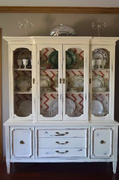 China Cabinet Redo.... I would choose a different pattern for the back though.