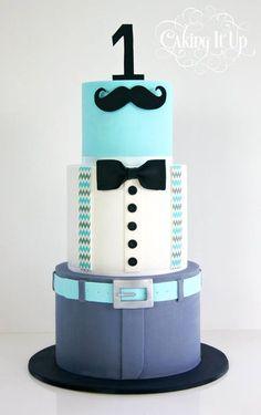 mustache bowtie little man cake