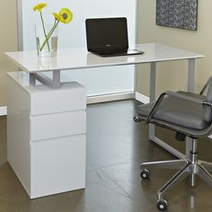 Compare Unique Furniture Writing Desk with Drawers, Espresso prices online and save money. Find the lowest price on your favorite Unique Furniture Writing Desk with Drawers, Espresso now. White Desk Design, Modern White Desk, White Desks, Design Desk, White Desk With Drawers, Writing Desk With Drawers, Modern Drawers, Home Desk, Home Office Desks