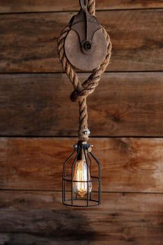 The Wood Wheel Pulley Pendant Light - Rustic Industrial Cage Lighting - Manila Rope swag Ceiling lamp - Edison bulb hanging chandelier #industrialdesign