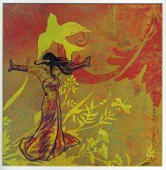 Diva  framed original dancer drawing  mixed media  by ArtSnark, $40.00