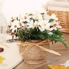 Cute Daisy 1 set ( flower + vase ) artificial flower 4 colors silk flower home decoration for wedding