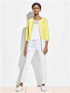 Dress this #Doncaster color block jacket up or down, it's the perfect item to center your summer wardrobe around.