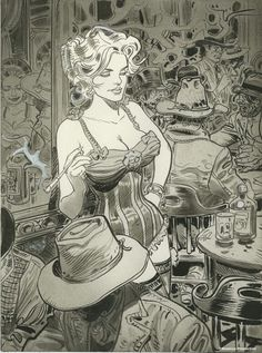 Jean Giraud Moebius Saloon Gal western bar cowboys gunslingers