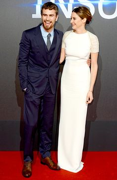 Theo James and Shailene Woodley touted Insurgent at the dystopian adventure sequel's world premiere in London March 11.