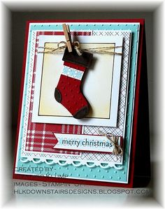 Stocking hung on string with miniature clothespin Christmas card. How cute is this?
